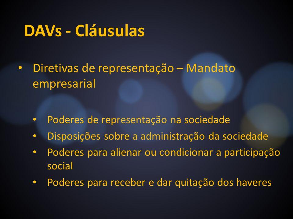DAVs - Cláusulas Diretivas de representação – Mandato empresarial