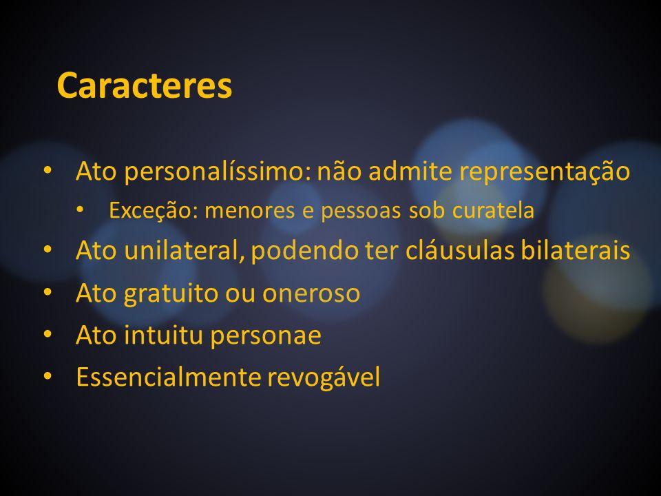 Caracteres Ato personalíssimo: não admite representação
