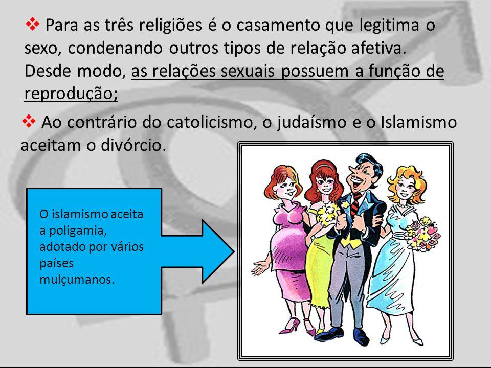 Para as três religiões é o casamento que legitima o sexo, condenando outros tipos de relação afetiva. Desde modo, as relações sexuais possuem a função de reprodução;
