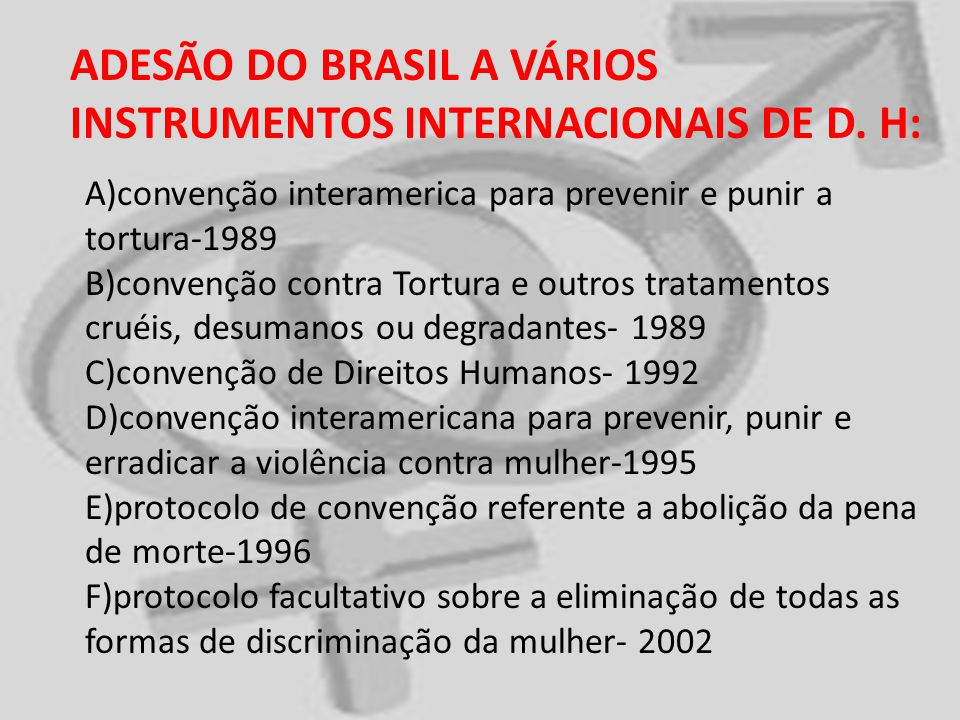 ADESÃO DO BRASIL A VÁRIOS INSTRUMENTOS INTERNACIONAIS DE D. H: