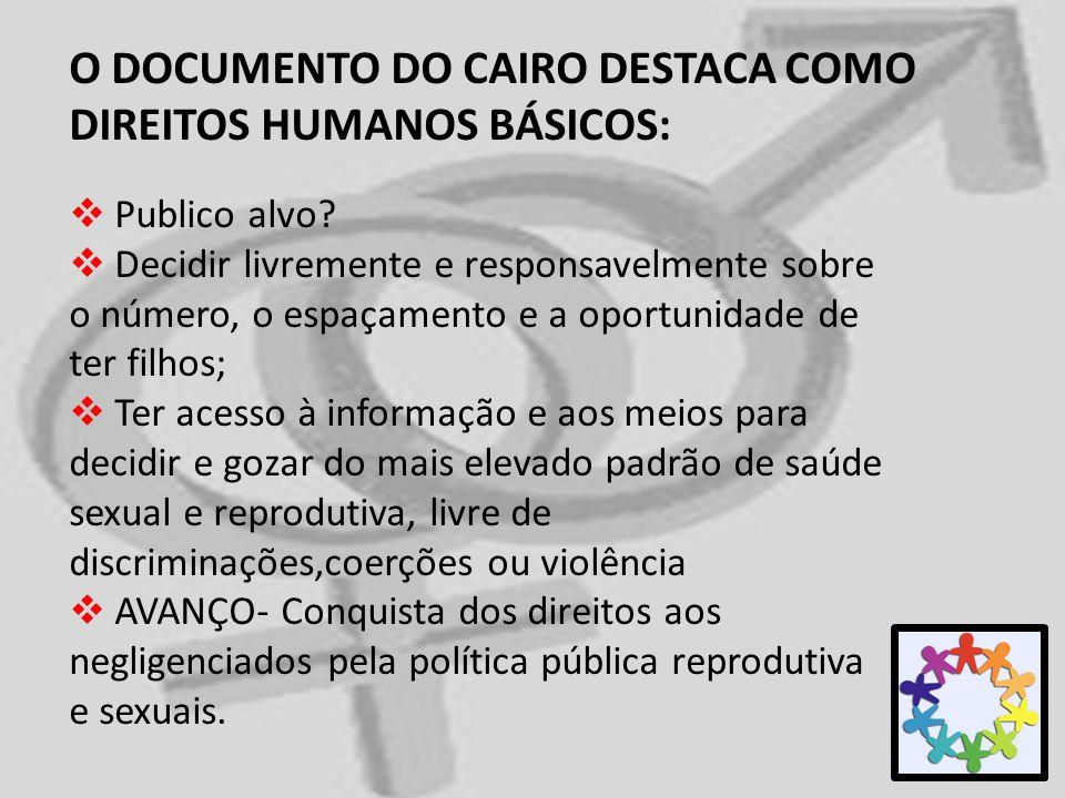 O DOCUMENTO DO CAIRO DESTACA COMO DIREITOS HUMANOS BÁSICOS: