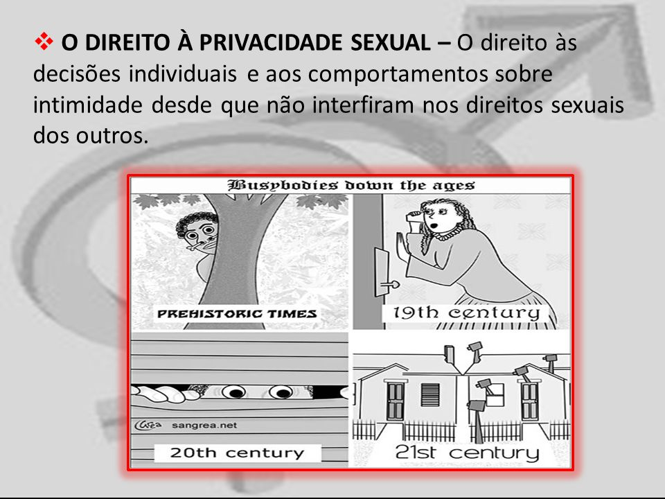 O DIREITO À PRIVACIDADE SEXUAL – O direito às decisões individuais e aos comportamentos sobre intimidade desde que não interfiram nos direitos sexuais dos outros.