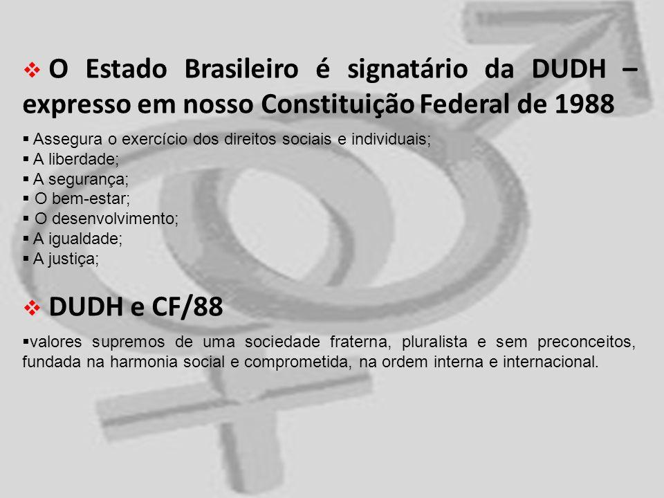 O Estado Brasileiro é signatário da DUDH – expresso em nosso Constituição Federal de 1988