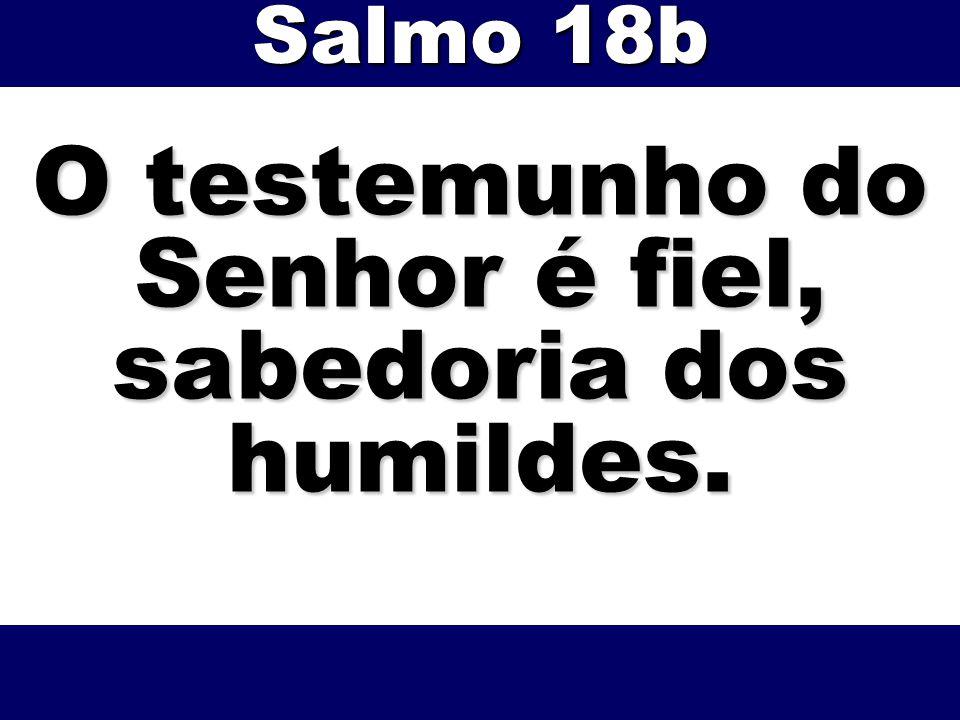 O testemunho do Senhor é fiel, sabedoria dos humildes.