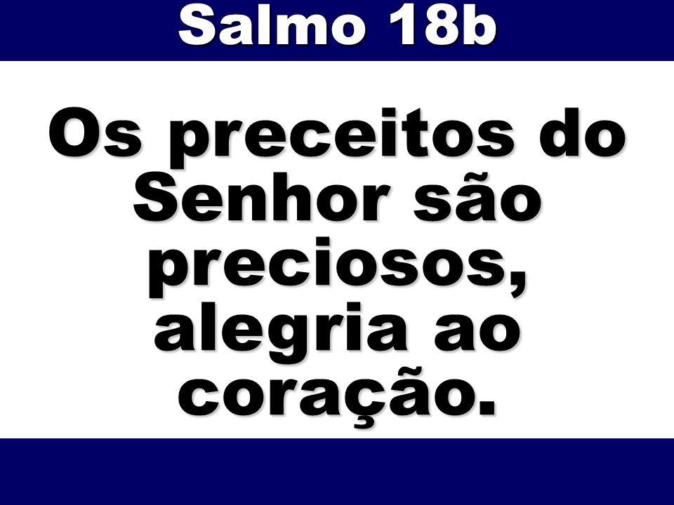 Os preceitos do Senhor são preciosos, alegria ao coração.