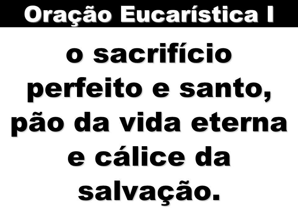 Oração Eucarística I o sacrifício perfeito e santo, pão da vida eterna e cálice da salvação.