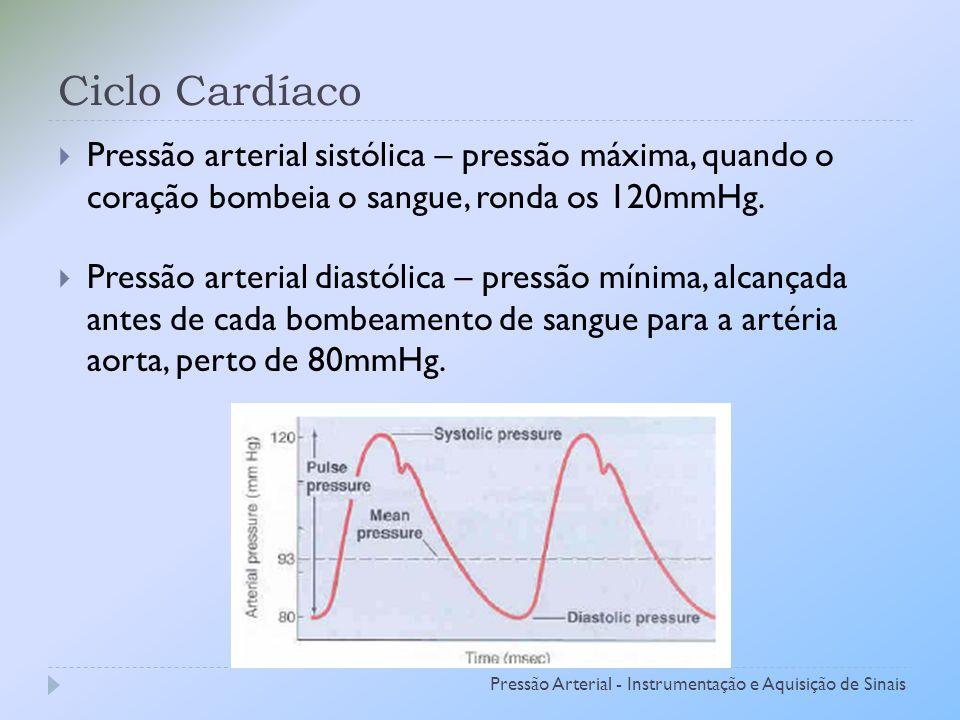 Ciclo Cardíaco Pressão arterial sistólica – pressão máxima, quando o coração bombeia o sangue, ronda os 120mmHg.