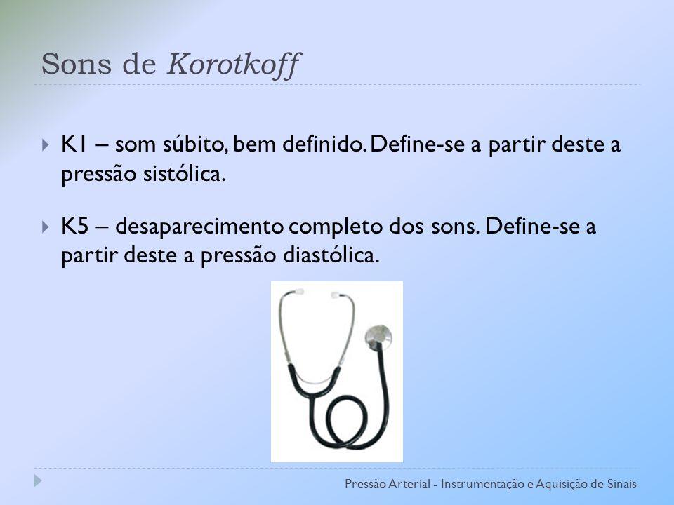 Sons de Korotkoff K1 – som súbito, bem definido. Define-se a partir deste a pressão sistólica.