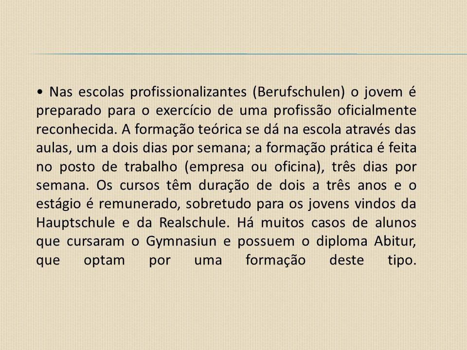 • Nas escolas profissionalizantes (Berufschulen) o jovem é preparado para o exercício de uma profissão oficialmente reconhecida.