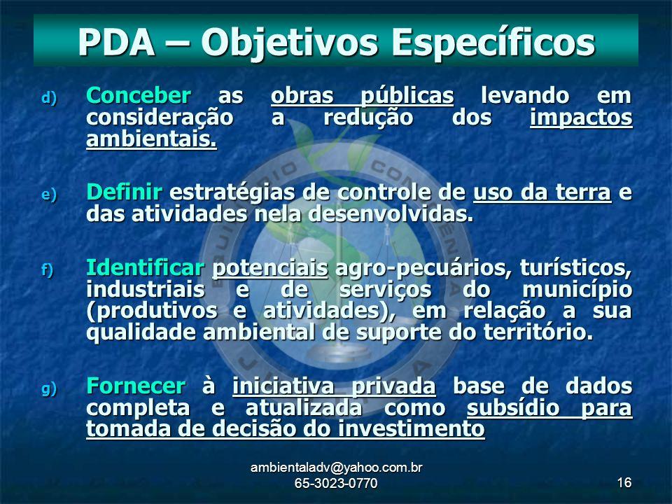 PDA – Objetivos Específicos