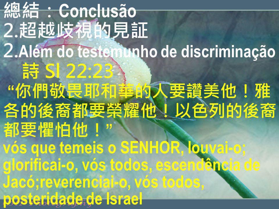 總結:Conclusão 2.超越歧視的見証 2.Além do testemunho de discriminação