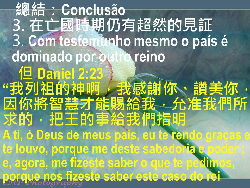 總結:Conclusão 3. 在亡國時期仍有超然的見証 3