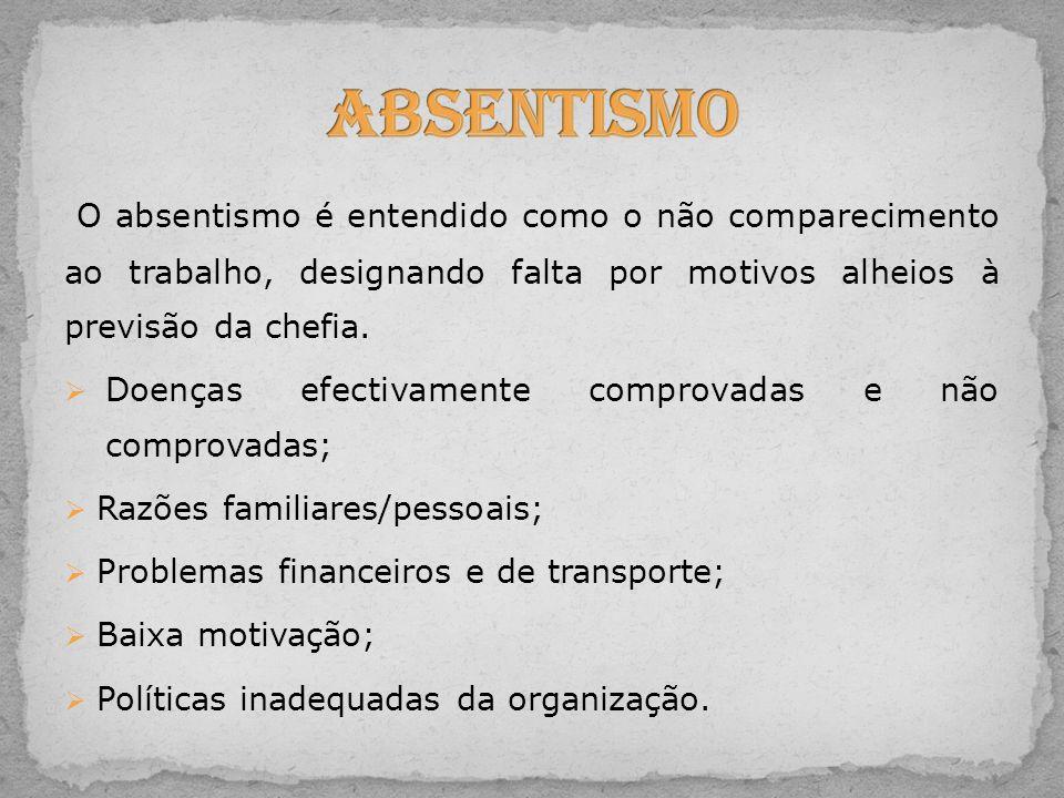 Absentismo O absentismo é entendido como o não comparecimento ao trabalho, designando falta por motivos alheios à previsão da chefia.