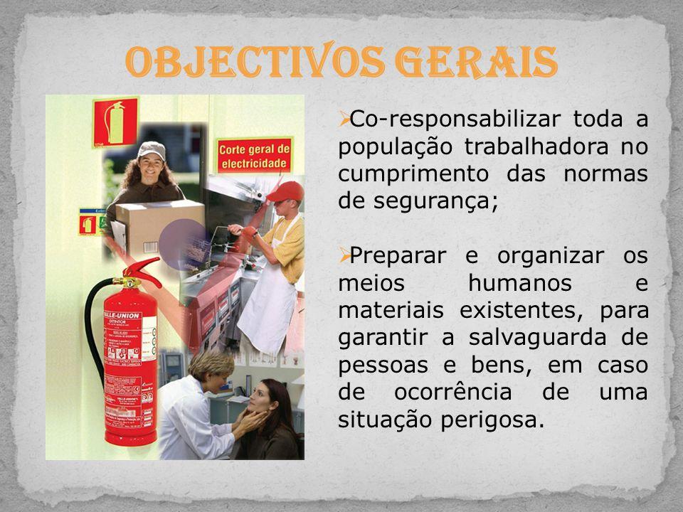 Objectivos Gerais Co-responsabilizar toda a população trabalhadora no cumprimento das normas de segurança;