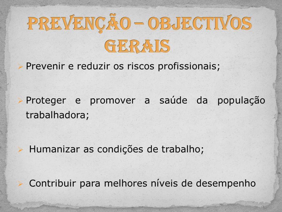 Prevenção – Objectivos Gerais