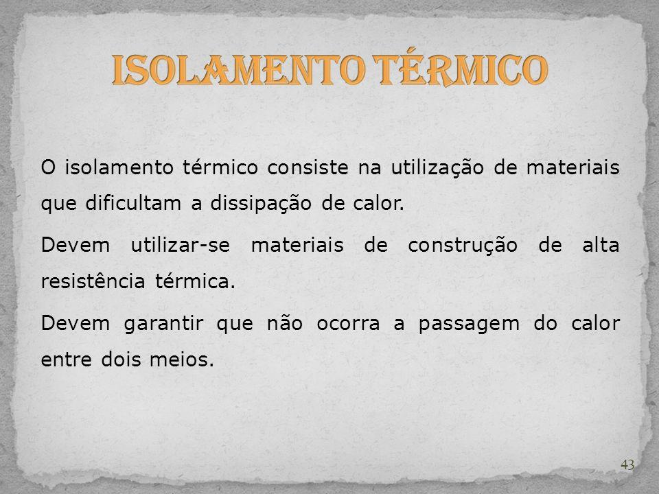 Isolamento Térmico O isolamento térmico consiste na utilização de materiais que dificultam a dissipação de calor.