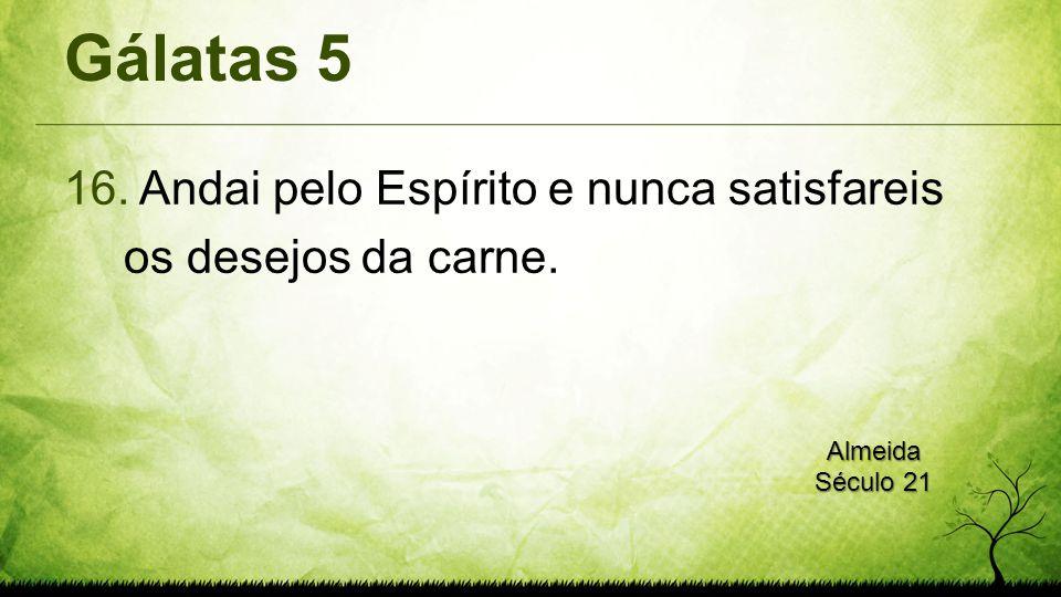 Gálatas 5 Andai pelo Espírito e nunca satisfareis os desejos da carne.