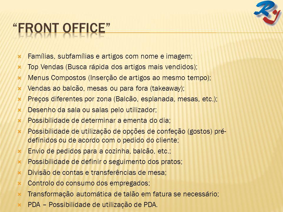 Front Office Famílias, subfamílias e artigos com nome e imagem;