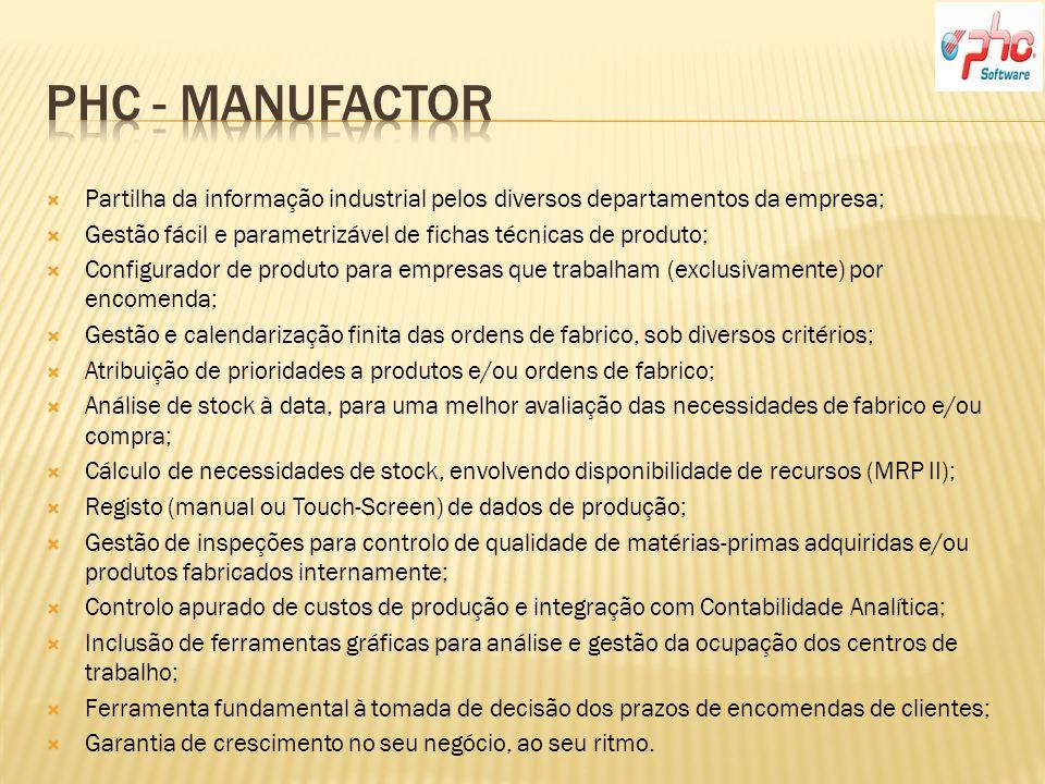 Phc - Manufactor Partilha da informação industrial pelos diversos departamentos da empresa;