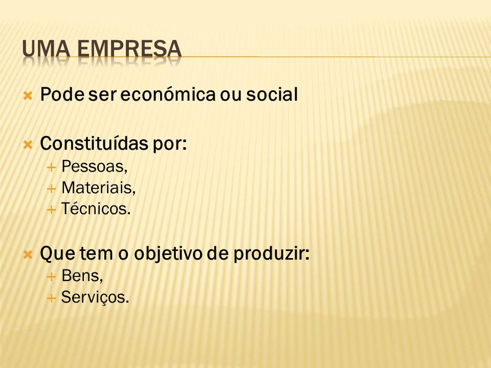 uma empresa Pode ser económica ou social Constituídas por: