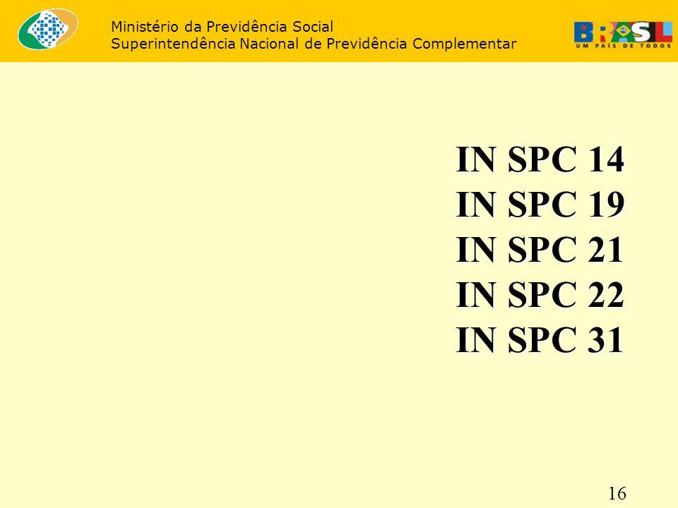 IN SPC 14 IN SPC 19 IN SPC 21 IN SPC 22 IN SPC 31 16