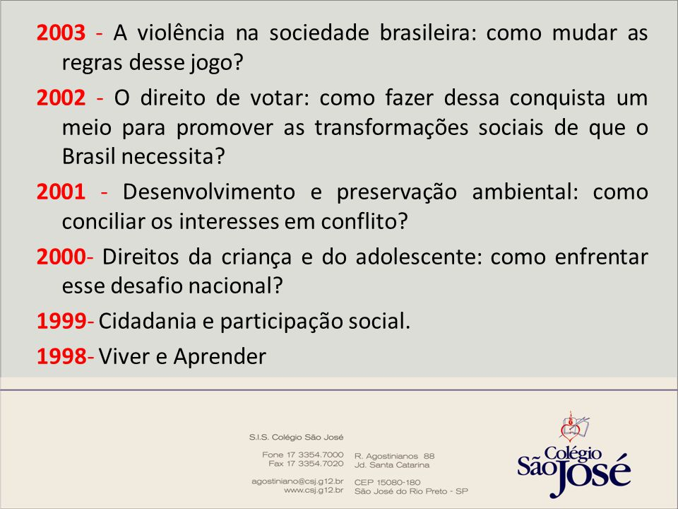 2003 - A violência na sociedade brasileira: como mudar as regras desse jogo.