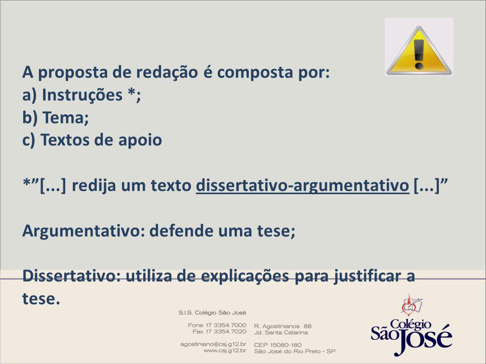 A proposta de redação é composta por: a) Instruções