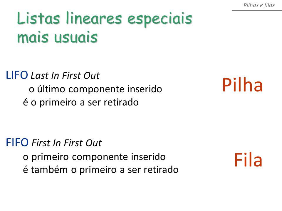 Pilha Fila Listas lineares especiais mais usuais