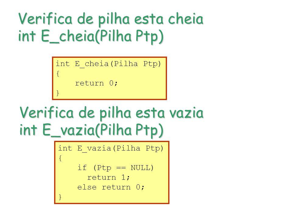 Verifica de pilha esta cheia int E_cheia(Pilha Ptp)