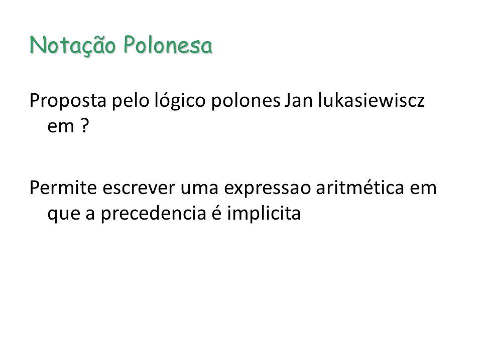 Notação Polonesa Proposta pelo lógico polones Jan lukasiewiscz em .
