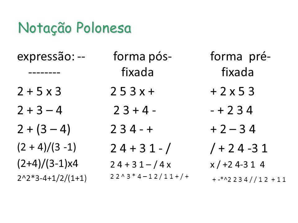 Notação Polonesa expressão: ---------- 2 + 5 x 3 2 + 3 – 4 2 + (3 – 4)