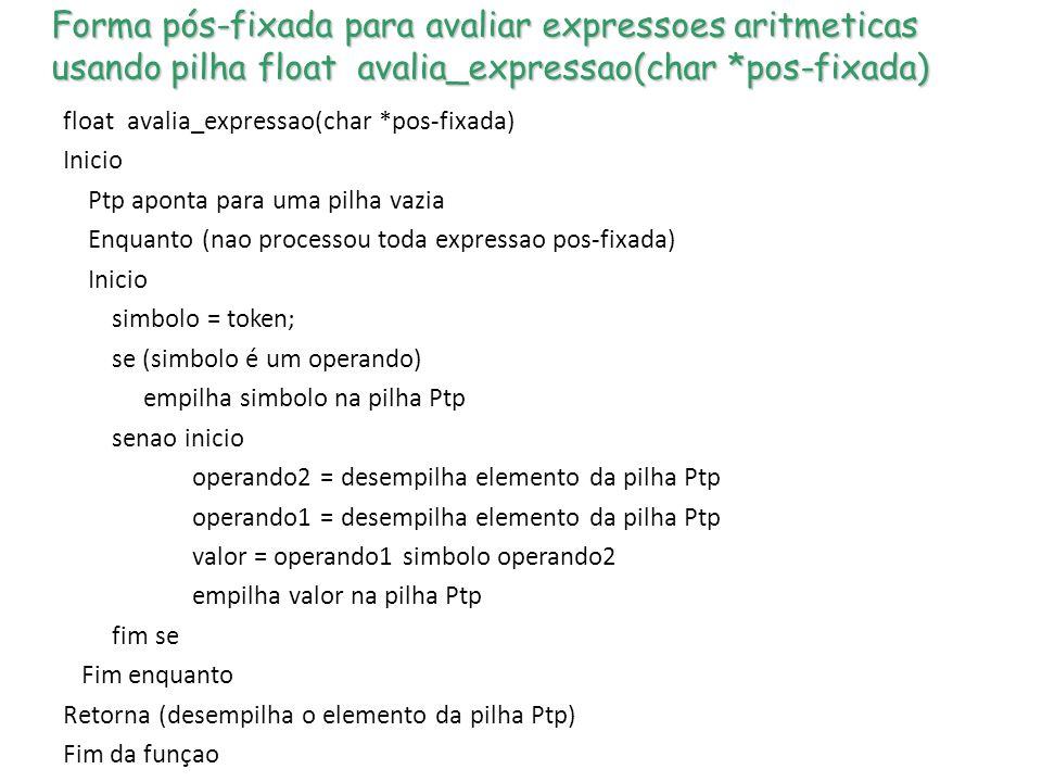 Forma pós-fixada para avaliar expressoes aritmeticas usando pilha float avalia_expressao(char *pos-fixada)