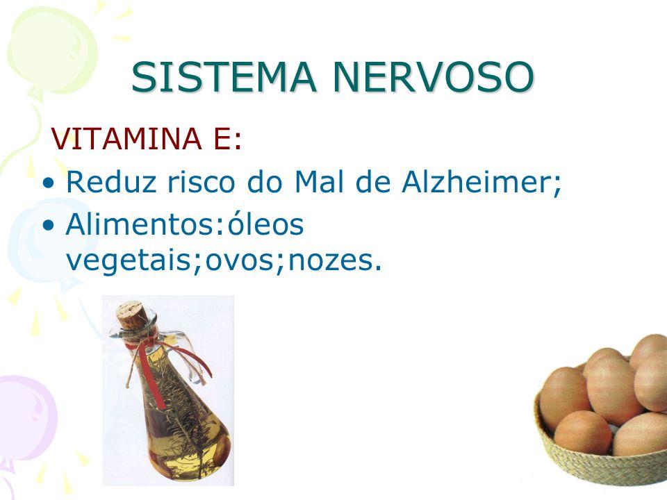 SISTEMA NERVOSO VITAMINA E: Reduz risco do Mal de Alzheimer;