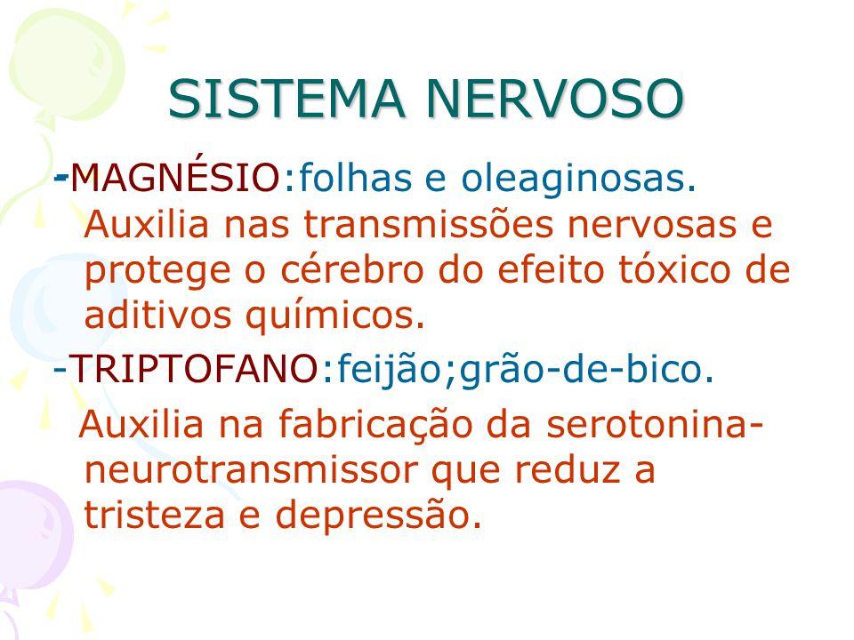 SISTEMA NERVOSO - -MAGNÉSIO:folhas e oleaginosas. Auxilia nas transmissões nervosas e protege o cérebro do efeito tóxico de aditivos químicos.