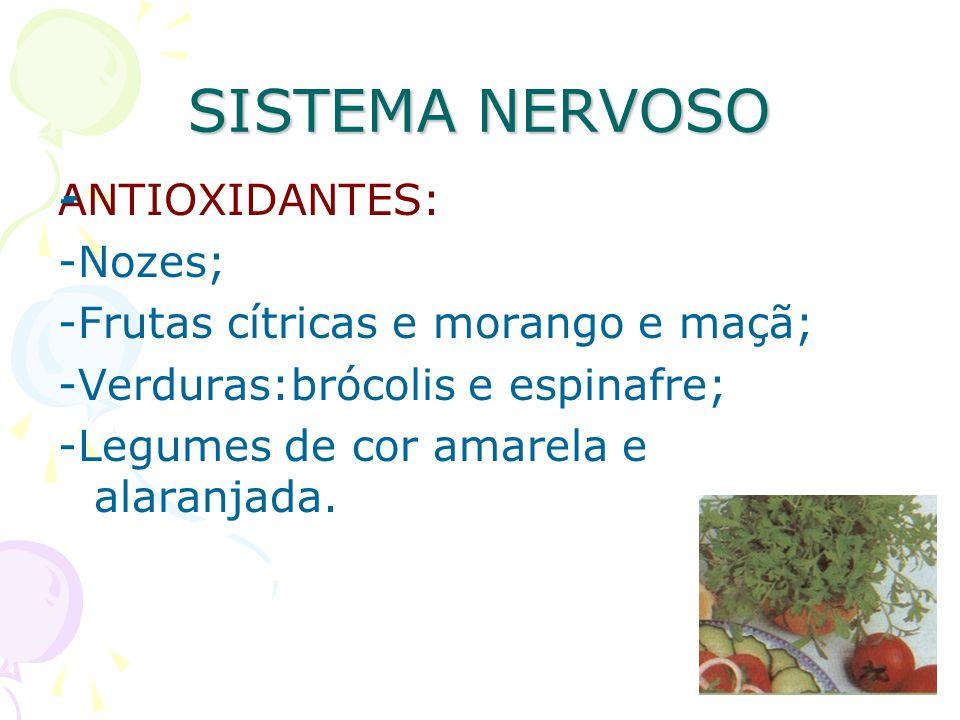 SISTEMA NERVOSO - ANTIOXIDANTES: -Nozes;