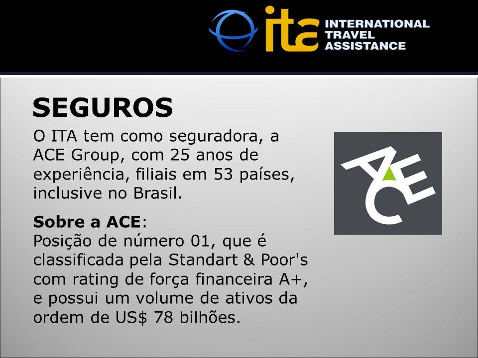 SEGUROS O ITA tem como seguradora, a ACE Group, com 25 anos de experiência, filiais em 53 países, inclusive no Brasil.