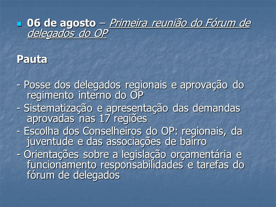 06 de agosto – Primeira reunião do Fórum de delegados do OP