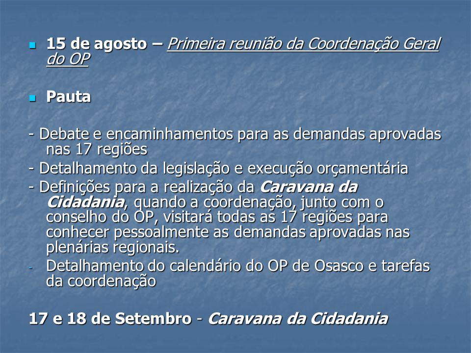 15 de agosto – Primeira reunião da Coordenação Geral do OP
