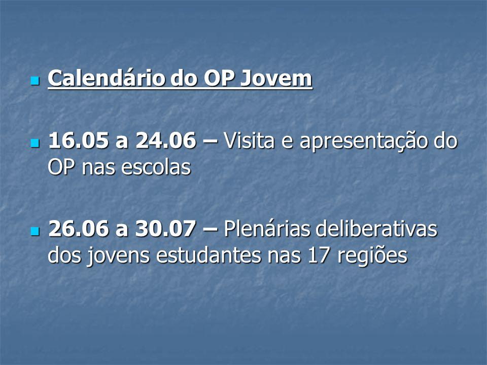 Calendário do OP Jovem 16.05 a 24.06 – Visita e apresentação do OP nas escolas.