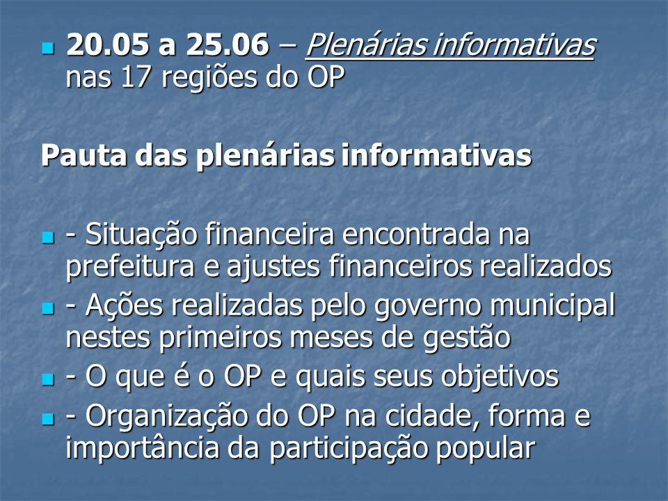 20.05 a 25.06 – Plenárias informativas nas 17 regiões do OP