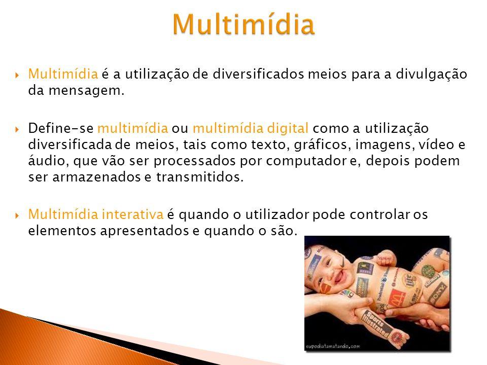 Multimídia Multimídia é a utilização de diversificados meios para a divulgação da mensagem.