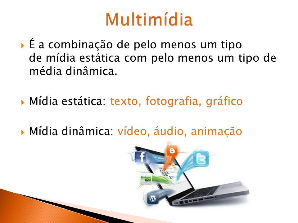 Multimídia É a combinação de pelo menos um tipo de mídia estática com pelo menos um tipo de média dinâmica.