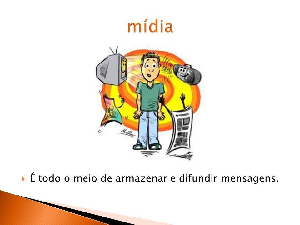 mídia É todo o meio de armazenar e difundir mensagens.