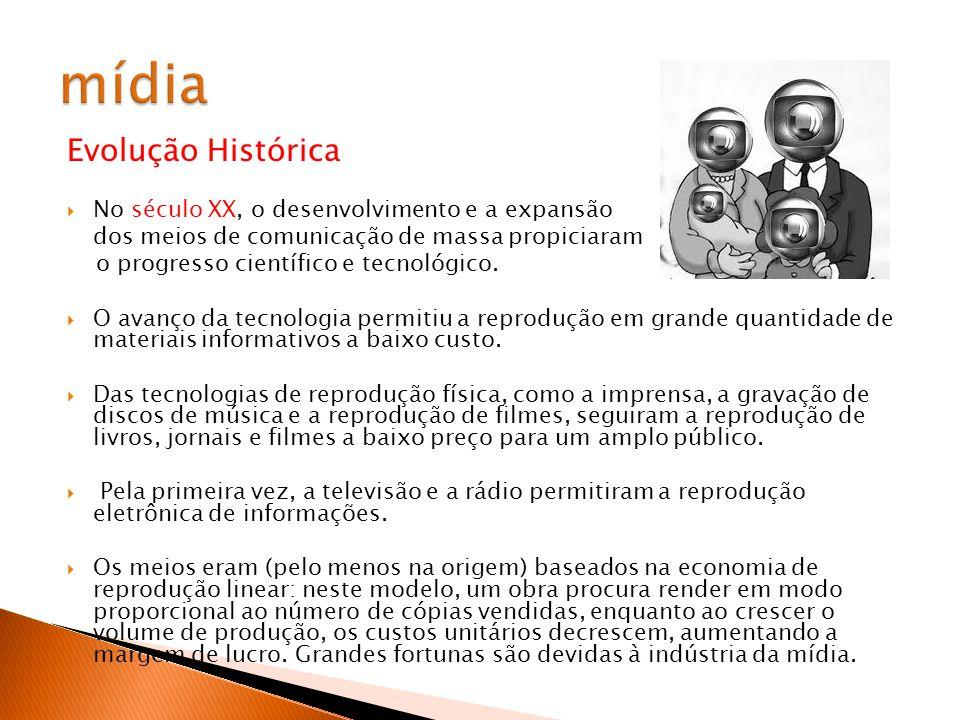 mídia Evolução Histórica No século XX, o desenvolvimento e a expansão