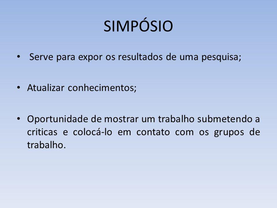 SIMPÓSIO Serve para expor os resultados de uma pesquisa;