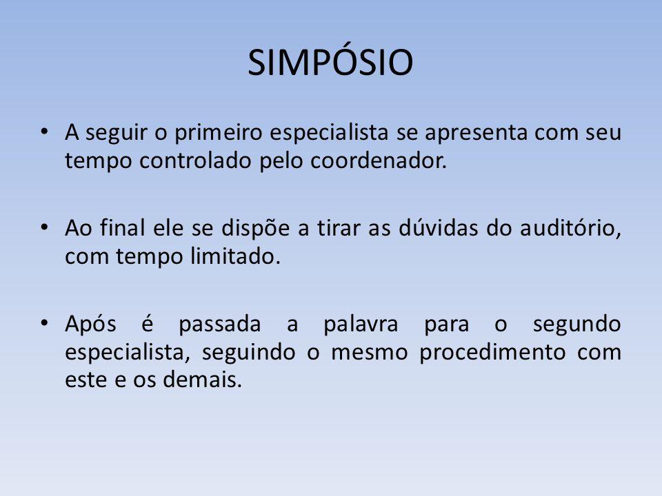 SIMPÓSIO A seguir o primeiro especialista se apresenta com seu tempo controlado pelo coordenador.