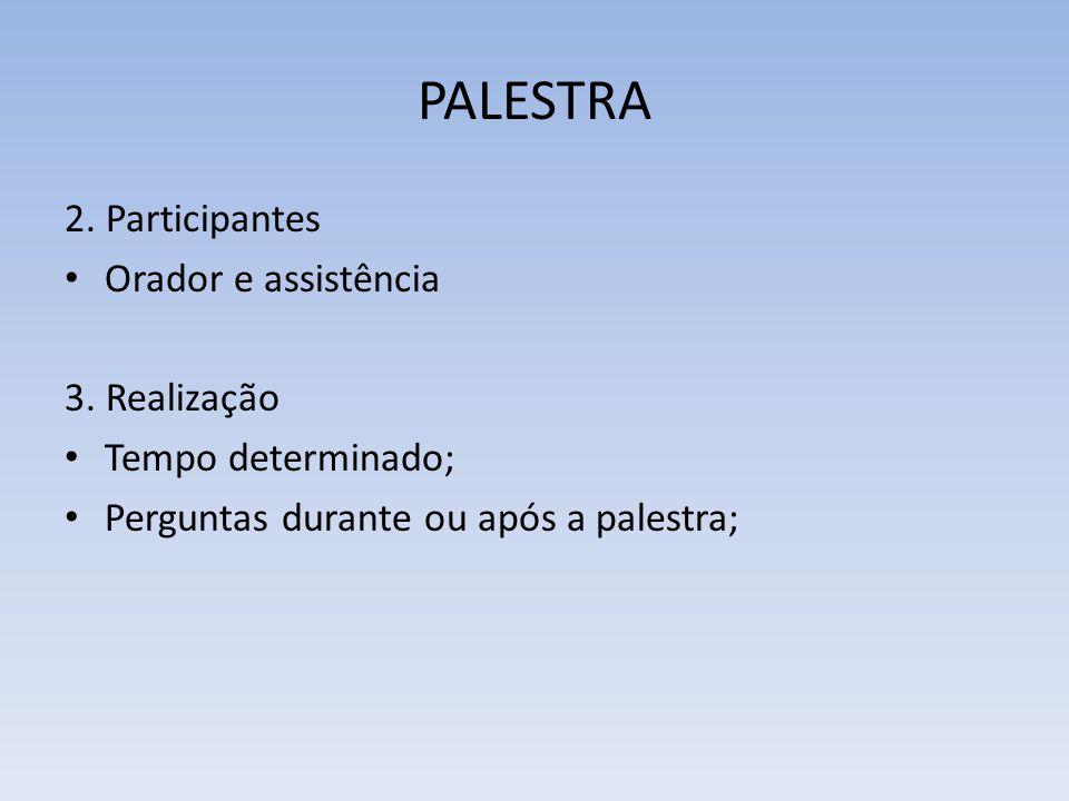 PALESTRA 2. Participantes Orador e assistência 3. Realização