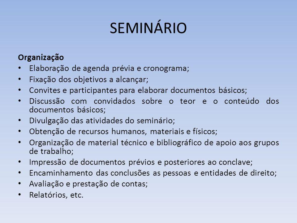 SEMINÁRIO Organização Elaboração de agenda prévia e cronograma;