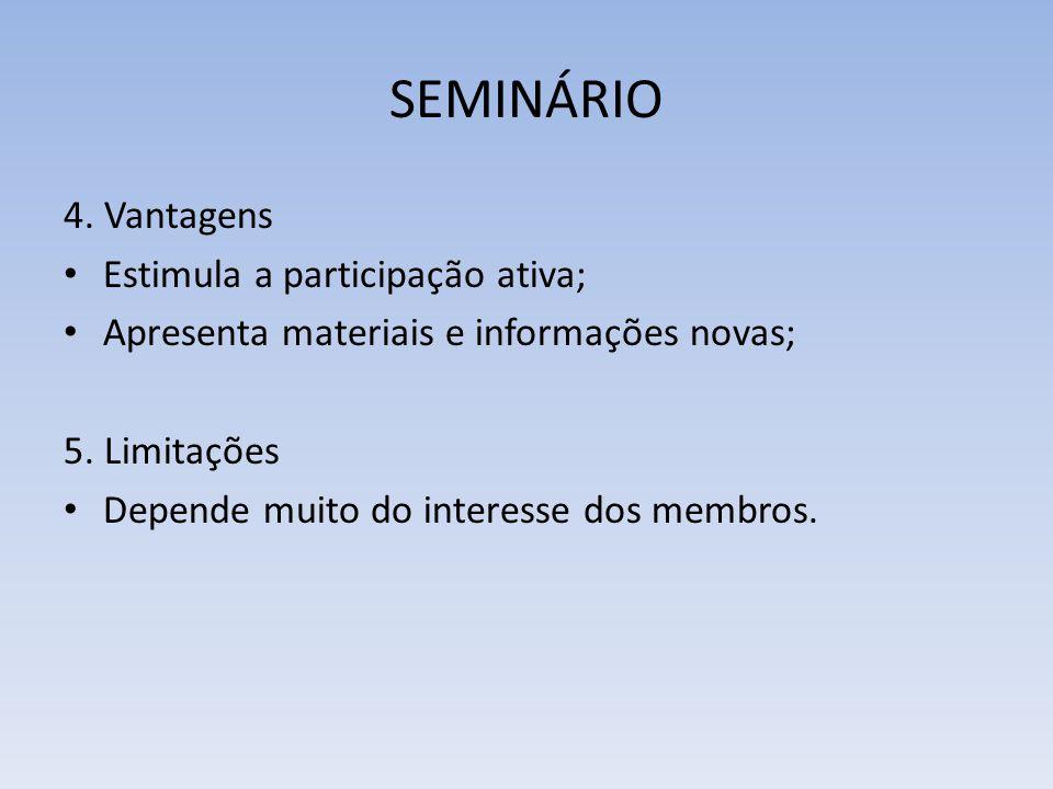 SEMINÁRIO 4. Vantagens Estimula a participação ativa;