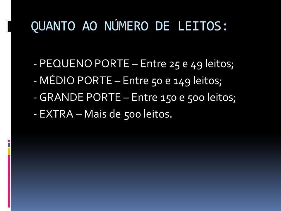 QUANTO AO NÚMERO DE LEITOS: